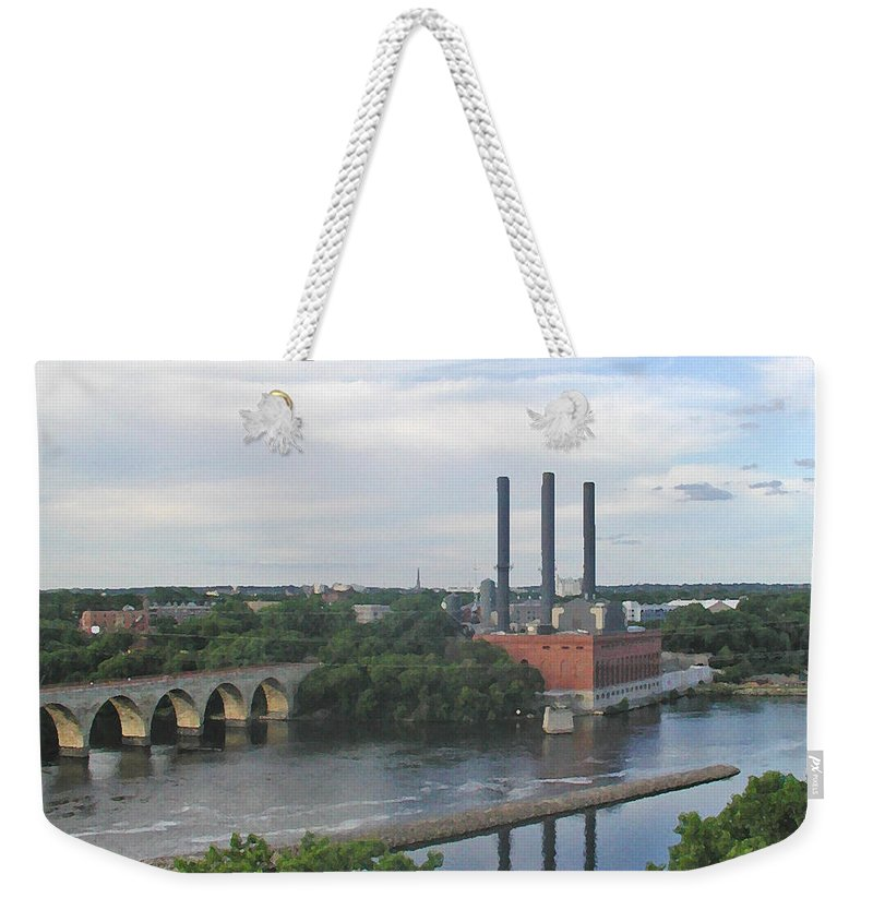 Minneapolis Weekender Tote Bag featuring the photograph Smokestacks On The Mississippi by Tom Reynen