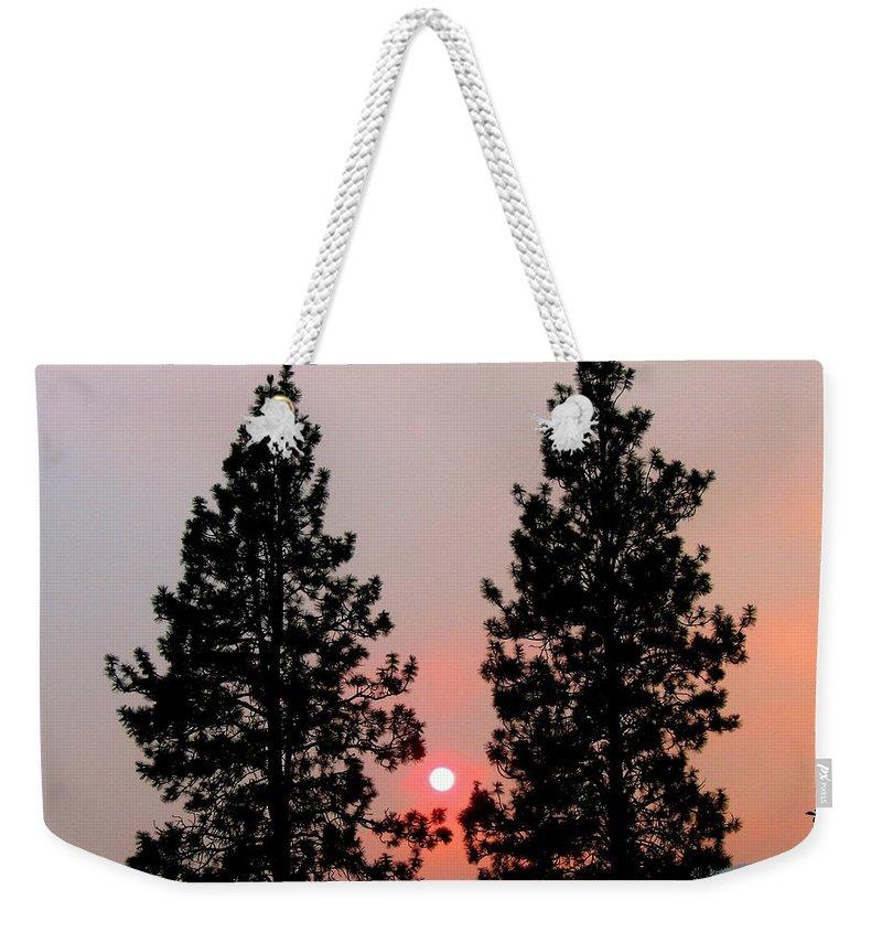 Smoke Weekender Tote Bag featuring the photograph Smokey Okanagan Sunset by Will Borden