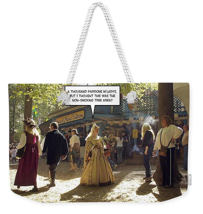 2d Weekender Tote Bag featuring the photograph Smoking Or Non by Brian Wallace
