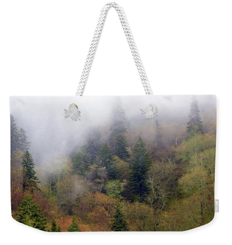 Fog Weekender Tote Bag featuring the photograph Smoky Mount Vertical by Marty Koch
