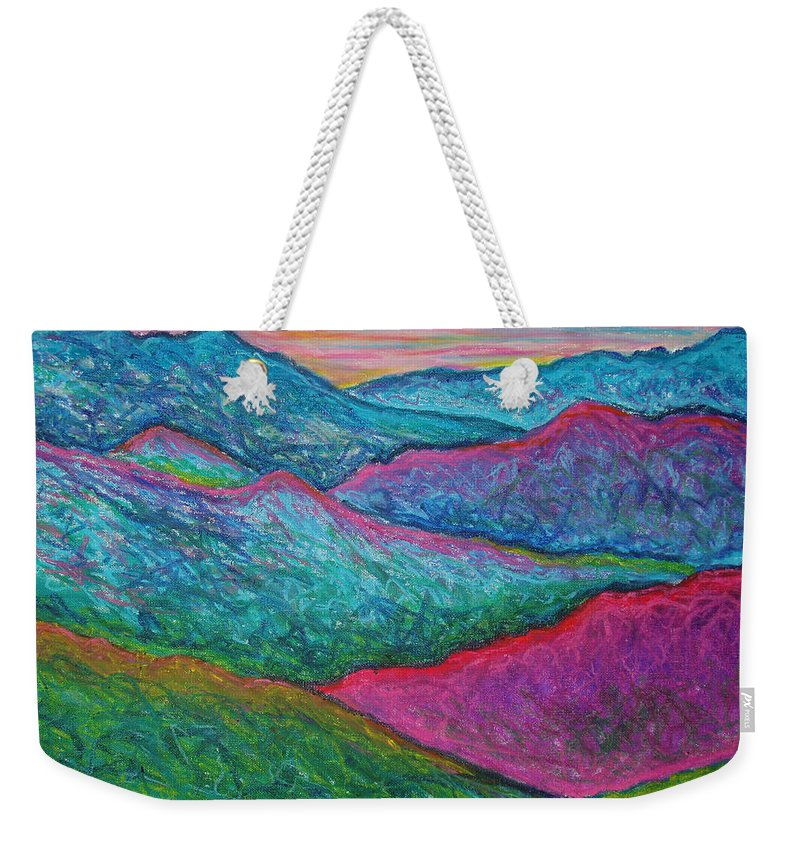 Oil Pastels Weekender Tote Bag featuring the painting Smoky Mountain Abstract by Nancy Mueller