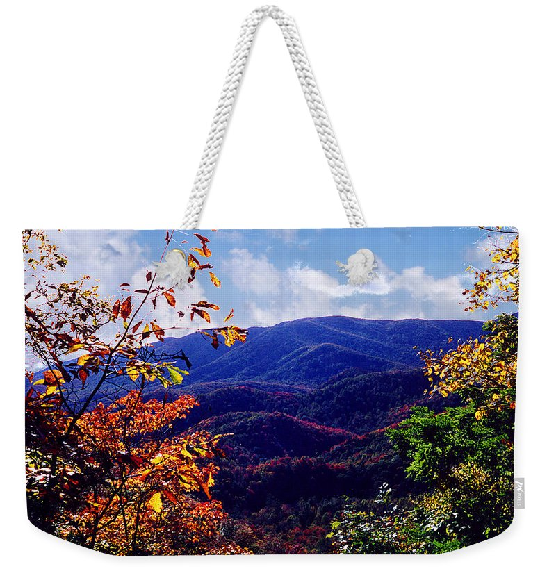 Mountain Weekender Tote Bag featuring the photograph Smoky Mountain Autumn View by Nancy Mueller