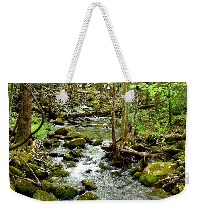 Smoky Mountains Weekender Tote Bag featuring the photograph Smoky Mountain Stream 1 by Nancy Mueller