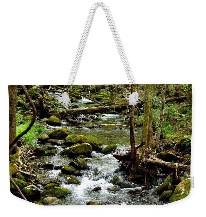 River Weekender Tote Bag featuring the photograph Smoky Mountain Stream 2 by Nancy Mueller