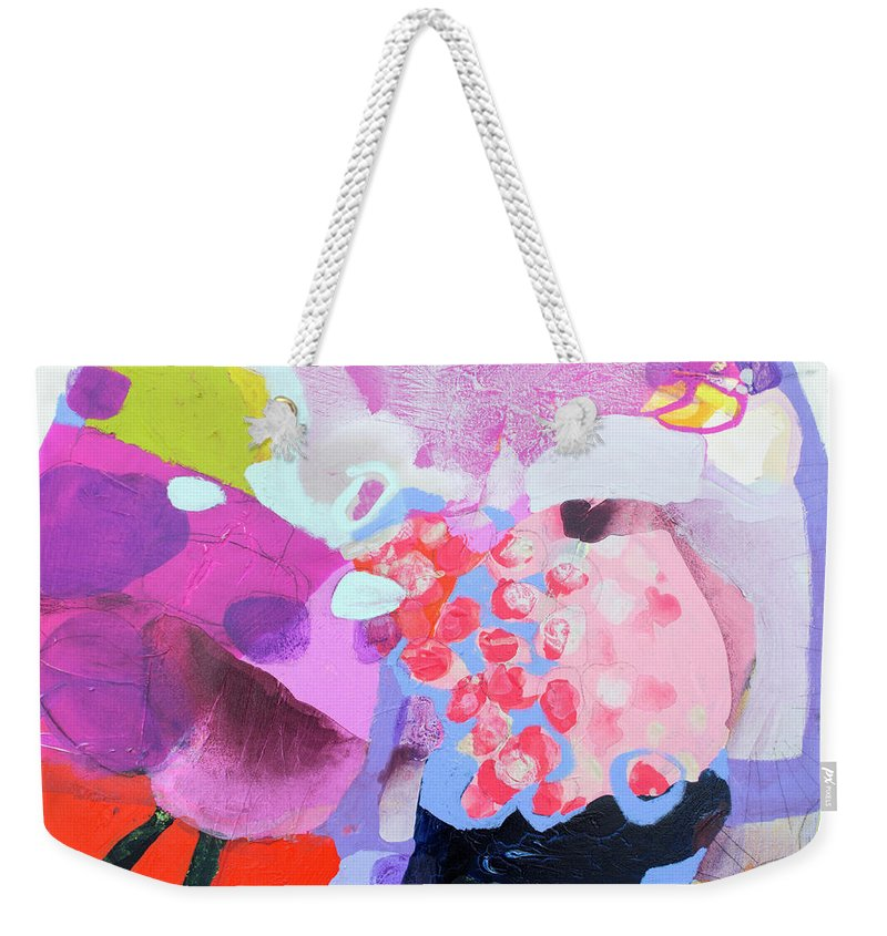 Abstract Weekender Tote Bag featuring the painting Smug by Claire Desjardins