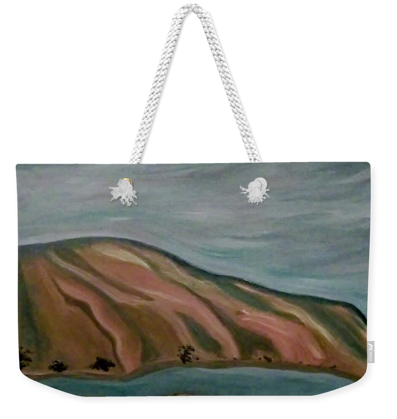 Landscape Weekender Tote Bag featuring the painting Snake River East by Denise Fletcher