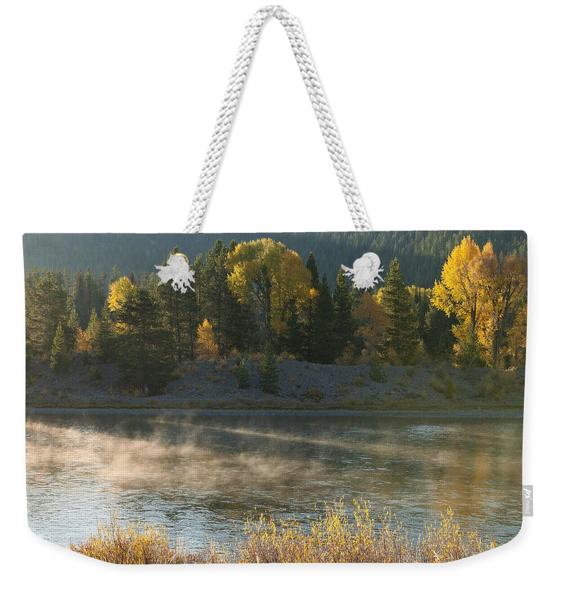 Grand Teton Weekender Tote Bag featuring the photograph Snake River Sunrise by Sandra Bronstein