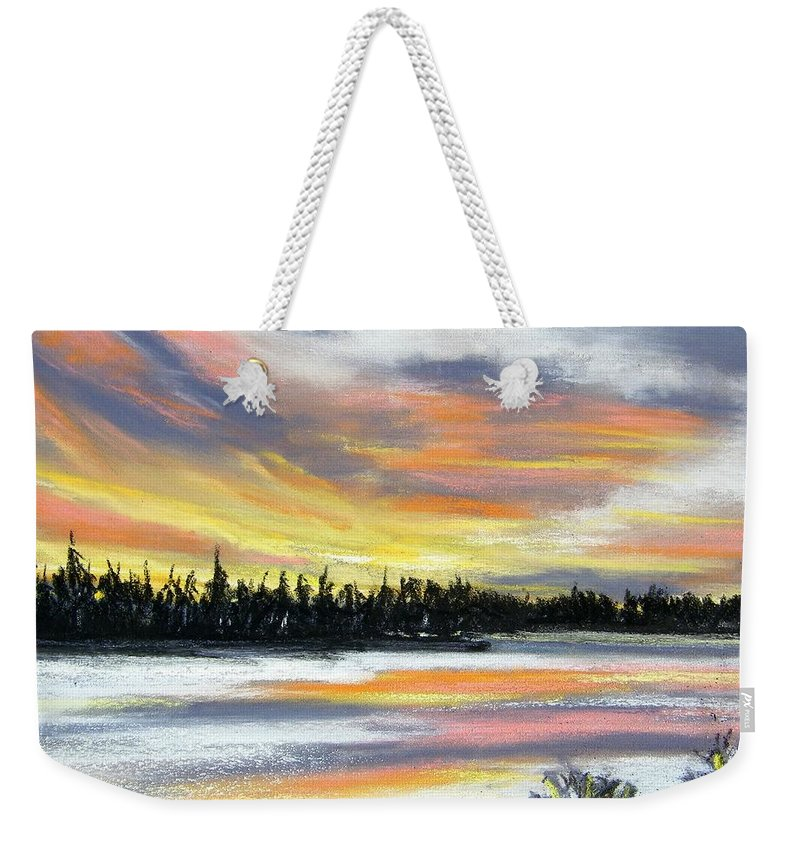 Sunset Weekender Tote Bag featuring the pastel Snake River Sunset by Gale Cochran-Smith