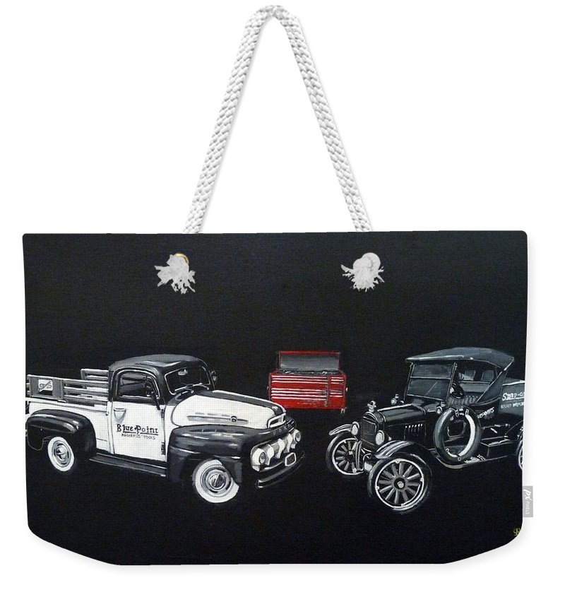 Trucks Weekender Tote Bag featuring the painting Snap-on Ford Trucks by Richard Le Page