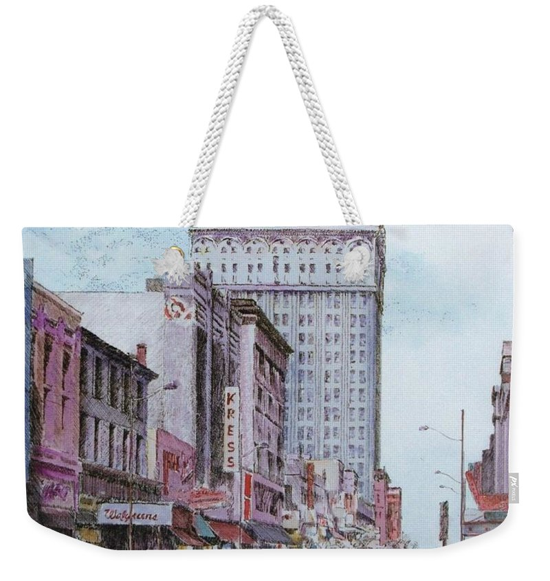 Print Greensboro History Weekender Tote Bag featuring the painting Snapshot Of Greensboro by Maggie Clark