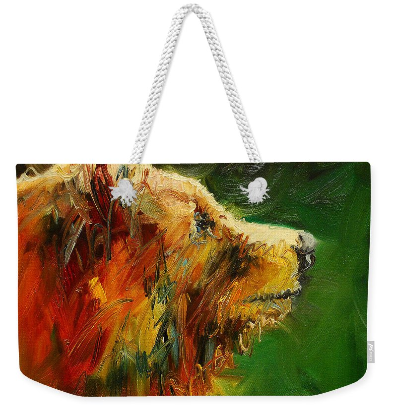 Bear Weekender Tote Bag featuring the painting Sniffing For Food Bear by Diane Whitehead