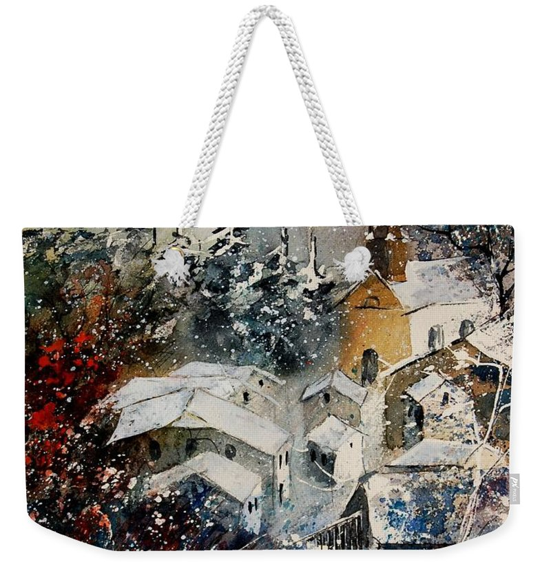 Landscape Weekender Tote Bag featuring the painting Snon In Frahan by Pol Ledent