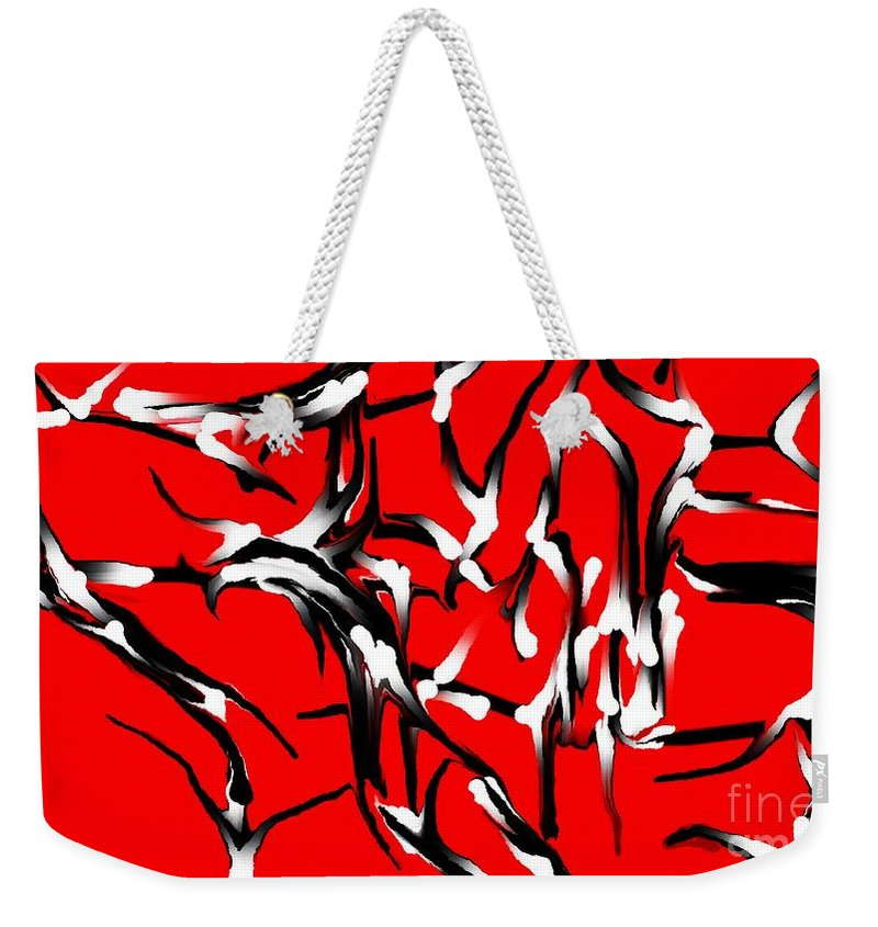 Abstract Weekender Tote Bag featuring the digital art Snoopys Dance by David Lane