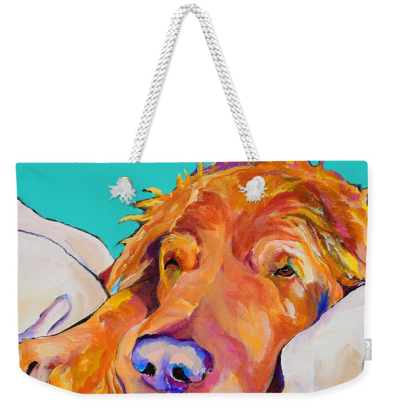 Dog Poortraits Weekender Tote Bag featuring the painting Snoozer King by Pat Saunders-White