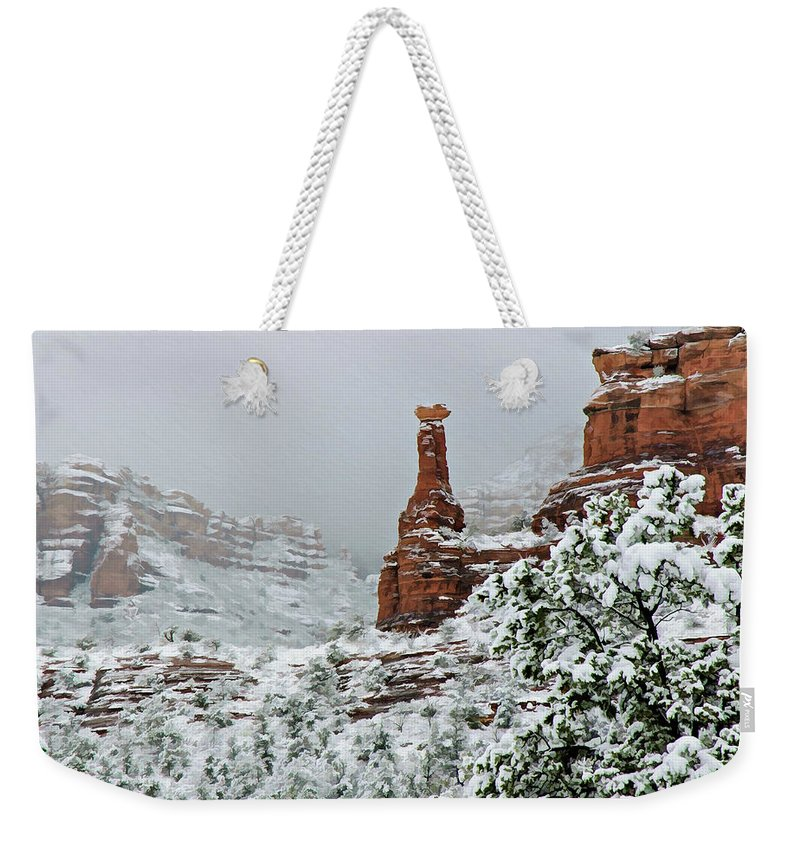 Sedona Weekender Tote Bag featuring the photograph Snow 06-027 by Scott McAllister