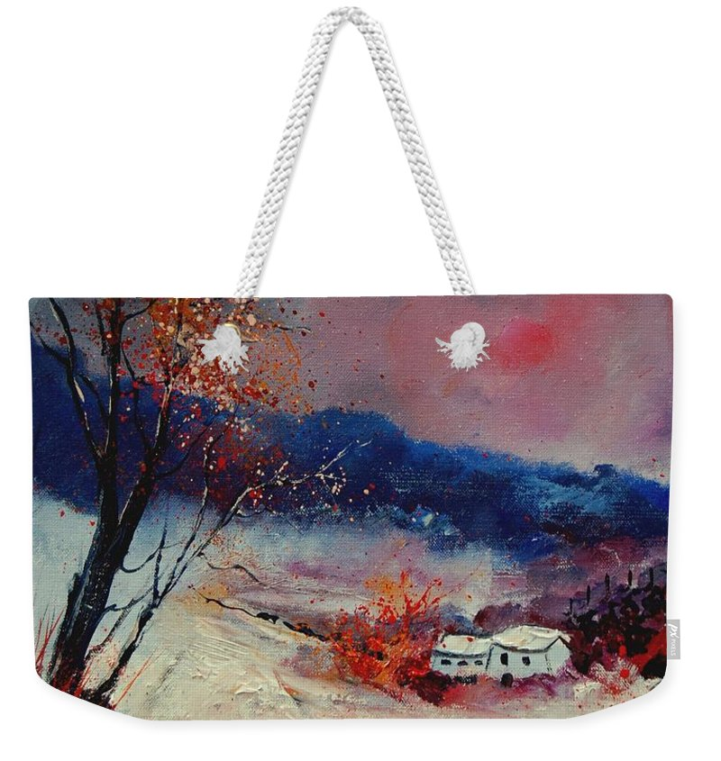 Winter Weekender Tote Bag featuring the painting Snow 569020 by Pol Ledent