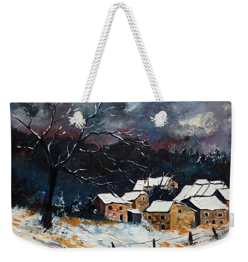 Snow Weekender Tote Bag featuring the painting Snow 57 by Pol Ledent