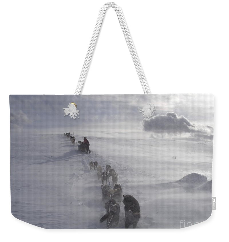 Landscape Weekender Tote Bag featuring the photograph Snow and Clouds by Sarah Bevard