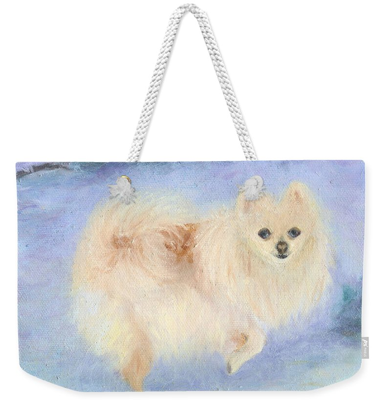 Dog Weekender Tote Bag featuring the painting Snow Angel by Paula Emery