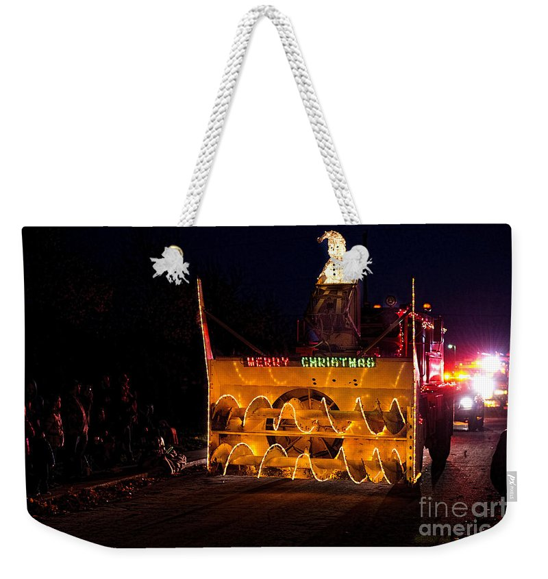 Shipshewana Light Parade Weekender Tote Bag featuring the photograph Snow Blower As Float In Shipshewana Light Parade by David Arment