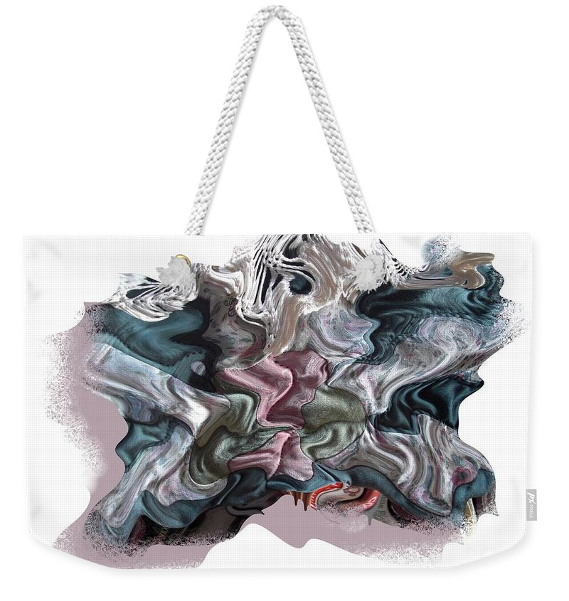 Abstract Weekender Tote Bag featuring the digital art Snow Capped Cloth by Ron Bissett