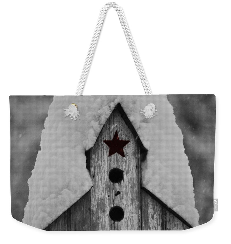Snow Weekender Tote Bag featuring the photograph Snow Covered Birdhouse by Teresa Mucha