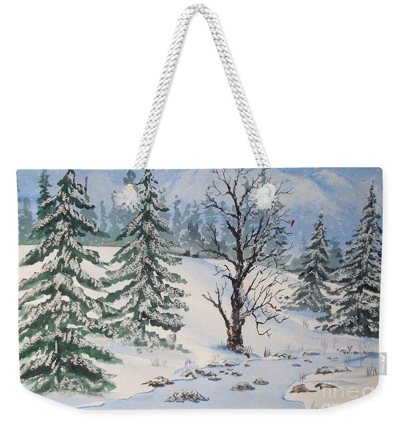 Snow Weekender Tote Bag featuring the painting Snow Covered by Don Hand