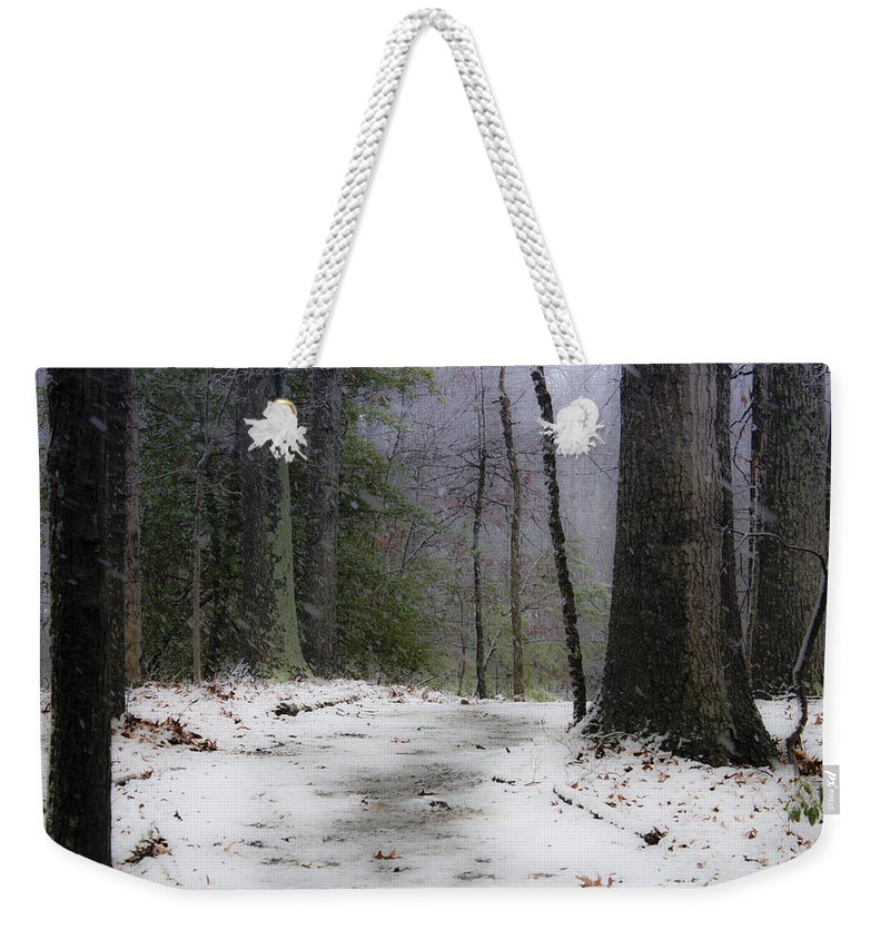 Snow Weekender Tote Bag featuring the photograph Snow Covered Path Quantico National Cemetery by Teresa Mucha