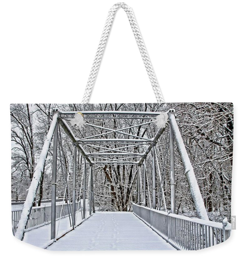 Historic Weekender Tote Bag featuring the photograph Snow Covered Pony Bridge by DJ Florek