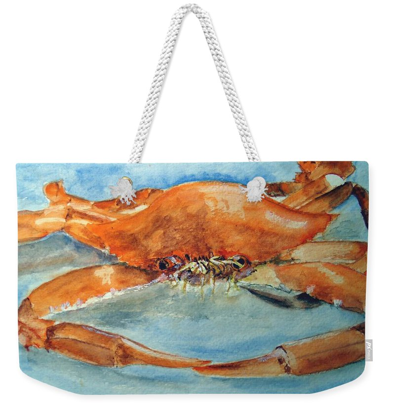 Crab Weekender Tote Bag featuring the painting Snow Crab Is Ready by Carol Grimes
