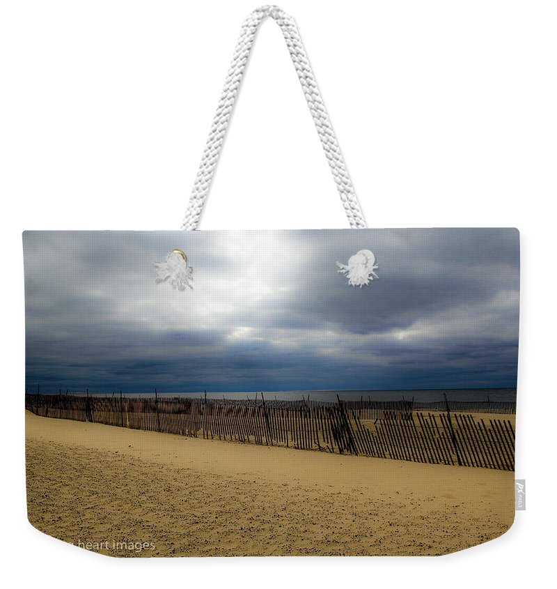 Landscape Weekender Tote Bag featuring the photograph Snow Fence II by Donna Fonseca Newton