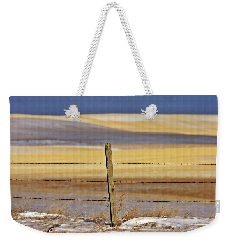 Prairie Weekender Tote Bag featuring the digital art Snow Hills Saskatchewan by Mark Duffy