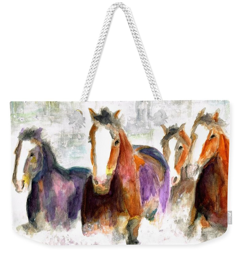 Horses Weekender Tote Bag featuring the painting Snow Horses by Frances Marino
