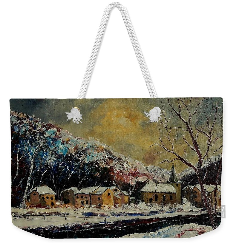 Winter Weekender Tote Bag featuring the painting Snow In Bohan by Pol Ledent