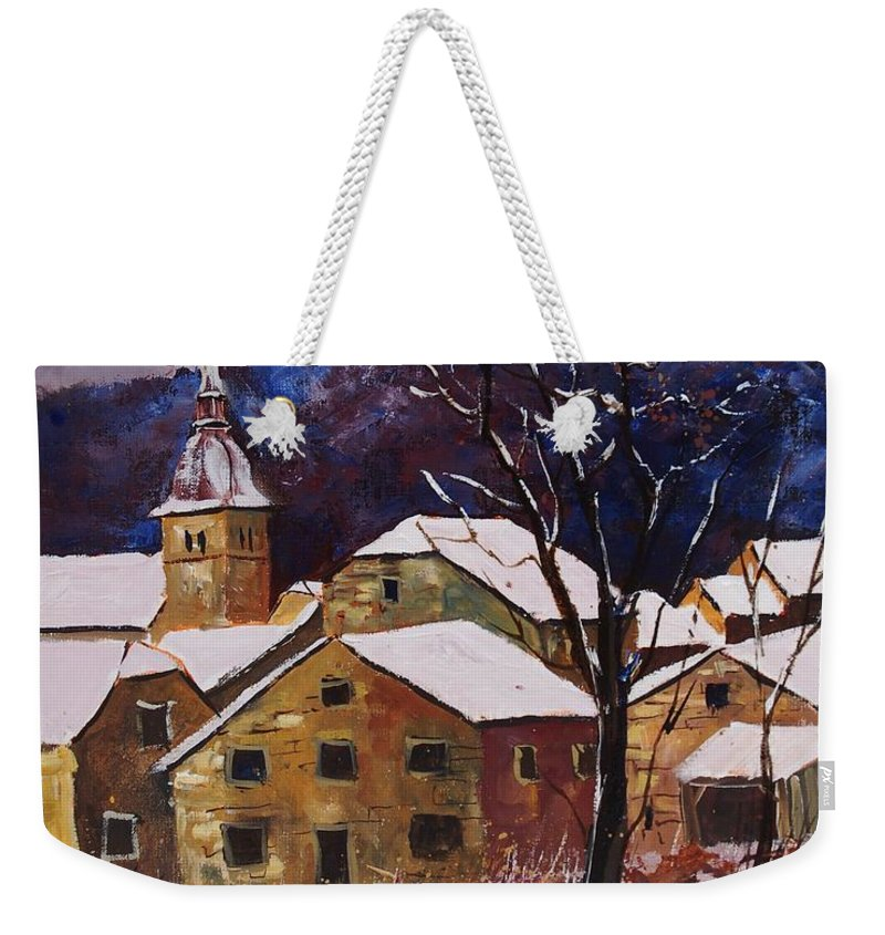 Landscape Weekender Tote Bag featuring the painting Snow In Chassepierre by Pol Ledent