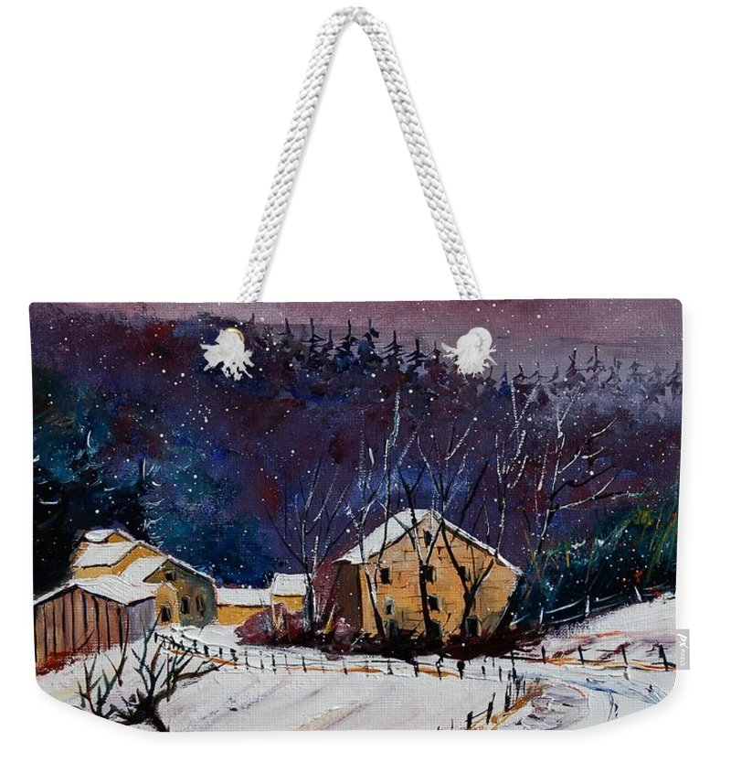Landscape Weekender Tote Bag featuring the painting Snow In Sechery by Pol Ledent