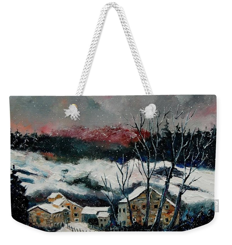 Winter Weekender Tote Bag featuring the painting Snow In Sechery Redu by Pol Ledent