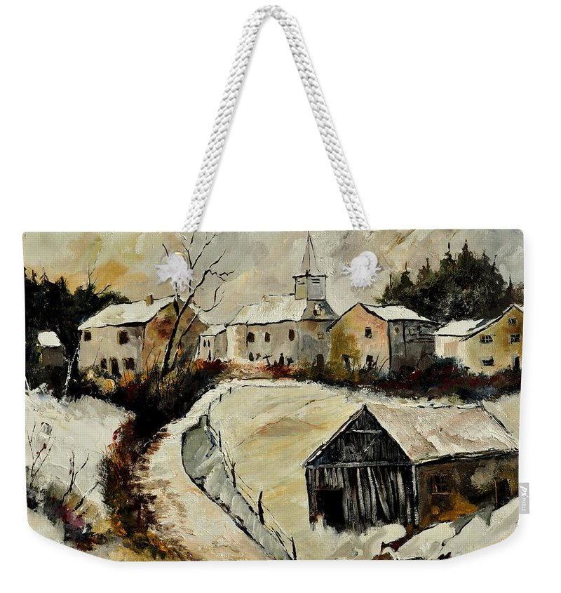 Snow Weekender Tote Bag featuring the painting Snow In Sensenruth by Pol Ledent