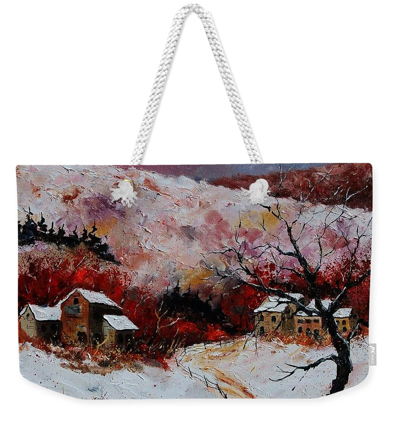 Snow Weekender Tote Bag featuring the painting Snow In The Ardennes 78 by Pol Ledent