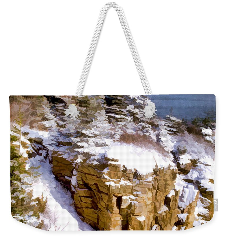 Realism Weekender Tote Bag featuring the painting Snow In The Park Acadia Maine by Elaine Plesser