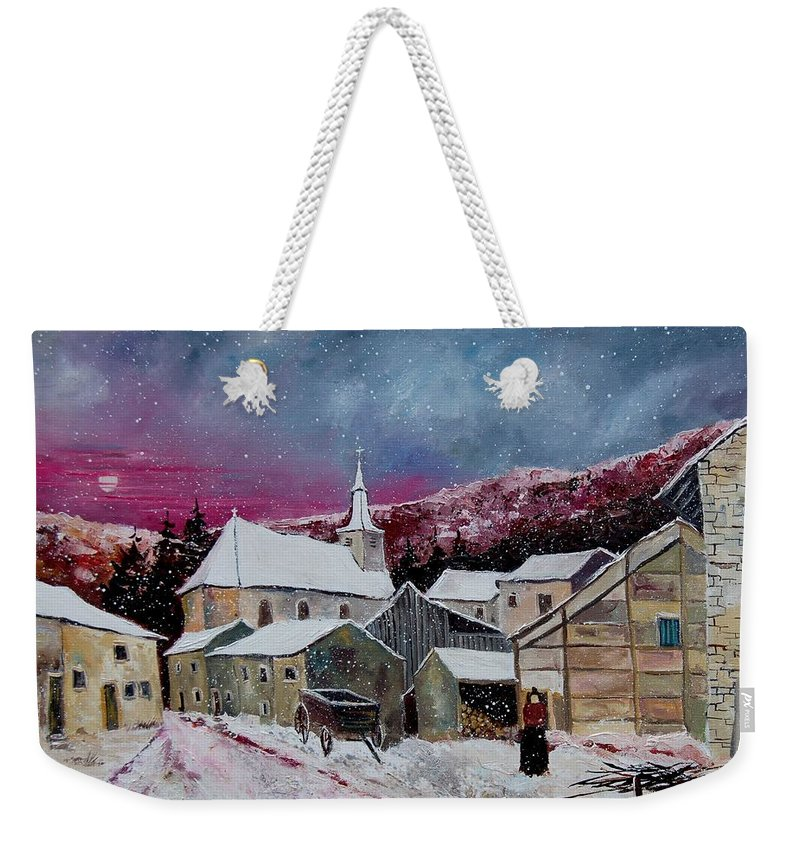 Snow Weekender Tote Bag featuring the painting Snow Is Falling by Pol Ledent