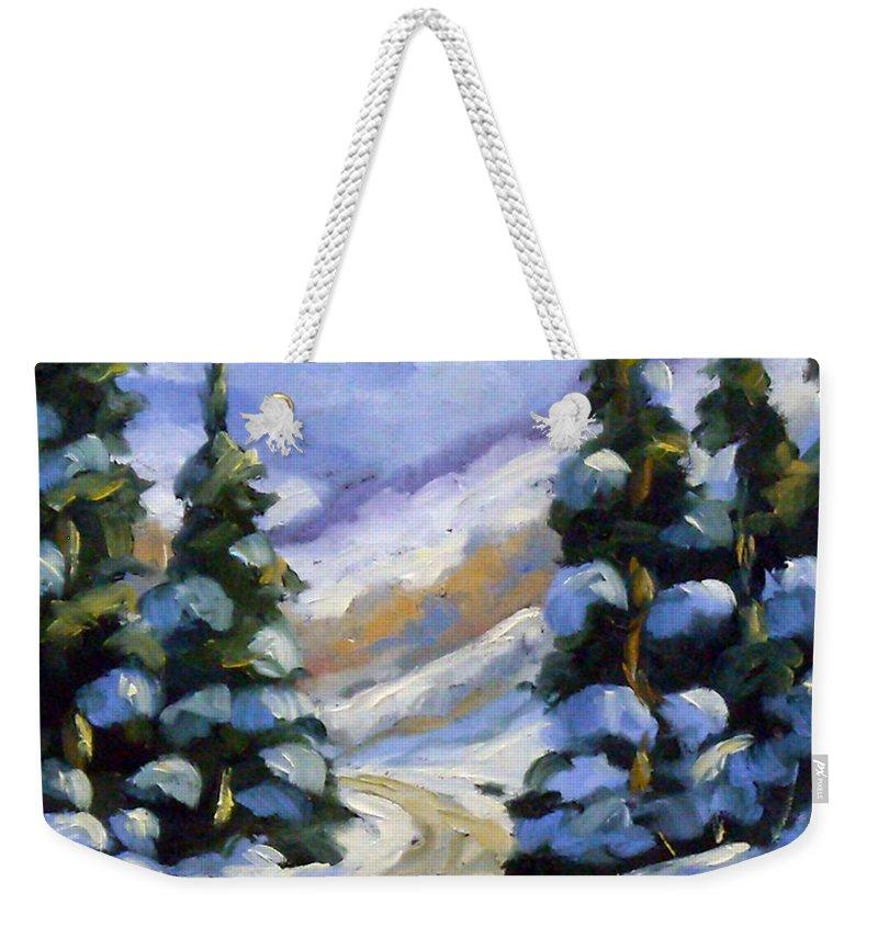 Art Weekender Tote Bag featuring the painting Snow Laden Pines by Richard T Pranke