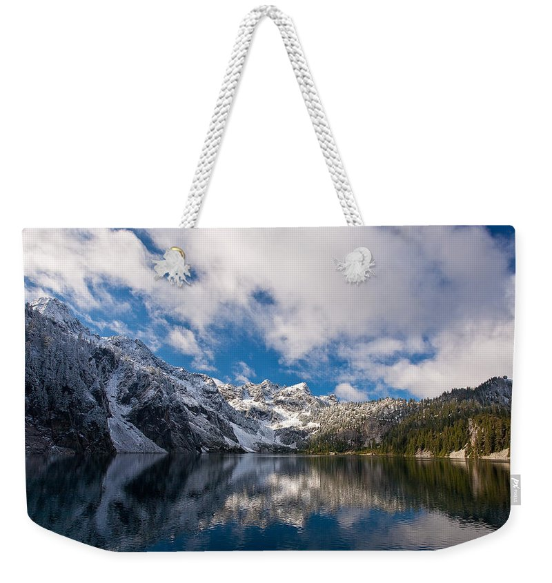 Snow Lake Weekender Tote Bag featuring the photograph Snow Lake Vista by Mike Reid
