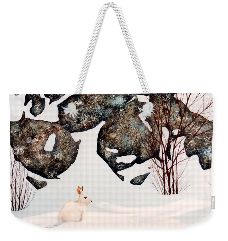 Wildlife Weekender Tote Bag featuring the painting Snow Ledges Rabbit by Frank Wilson
