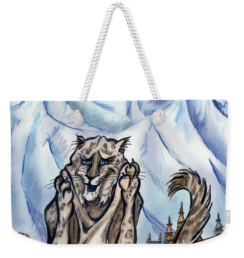 Ice Weekender Tote Bag featuring the painting Snow Leopard by Kevin Middleton