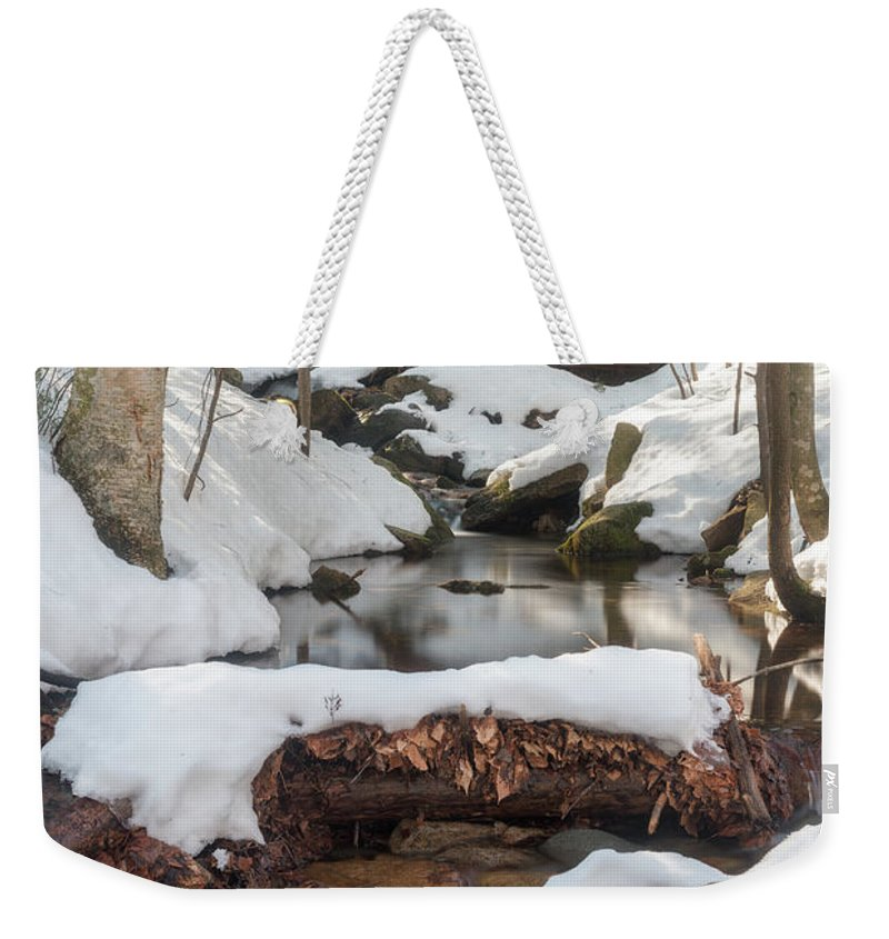 Mt Major Weekender Tote Bag featuring the photograph Snow Melt by Sharon Seaward