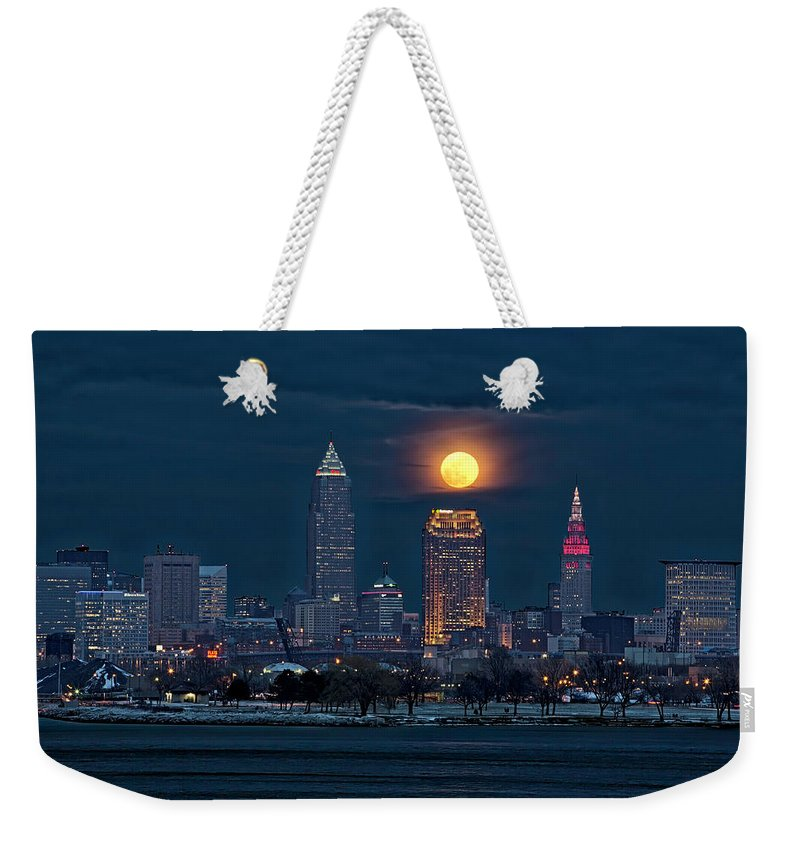 Snow Moon. Full Moon Weekender Tote Bag featuring the photograph Snow Moon by Jackie Sajewski