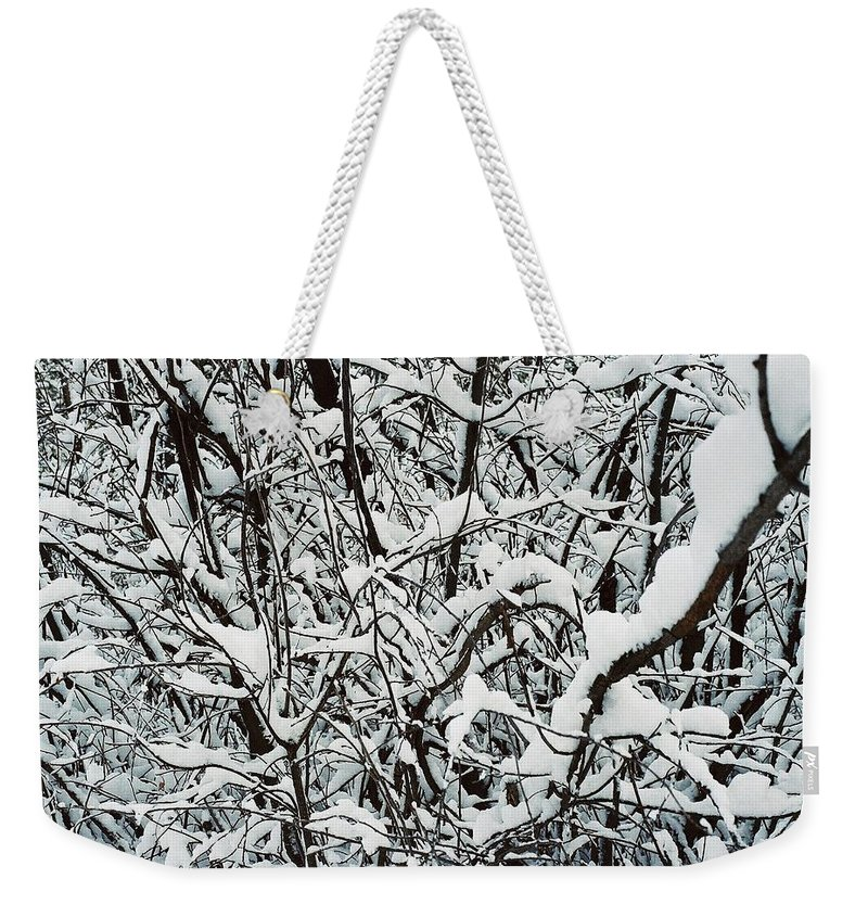 Abstract Weekender Tote Bag featuring the photograph Snow On Branches by Ric Bascobert