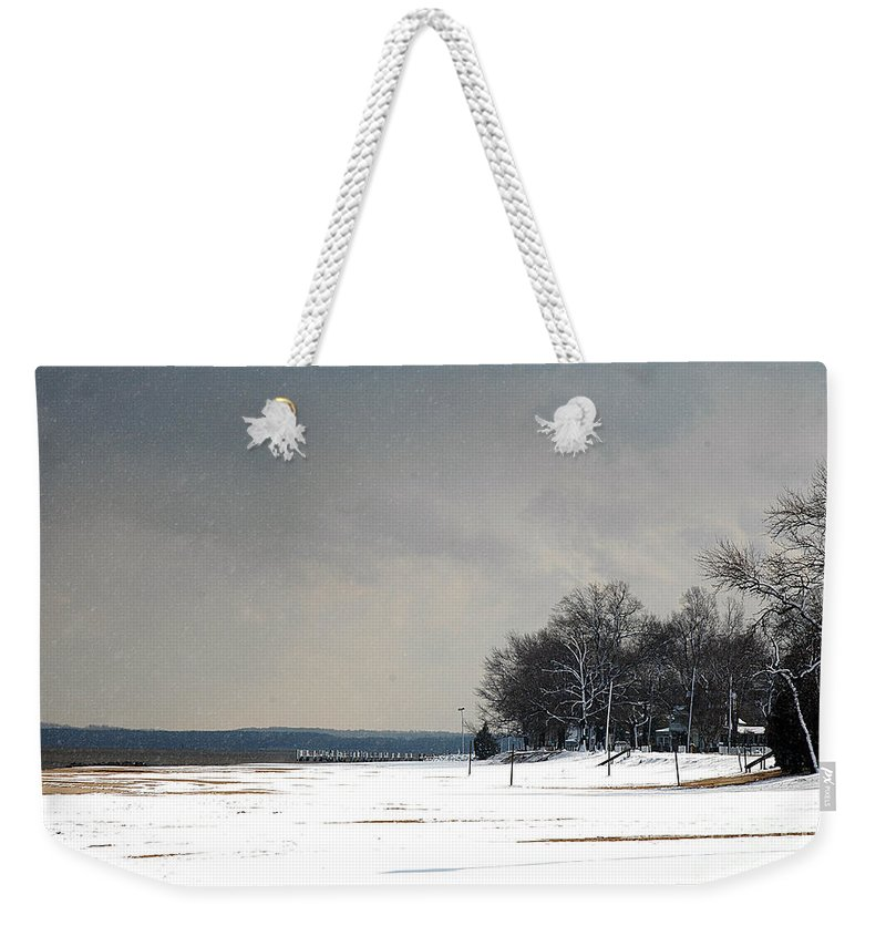 Clay Weekender Tote Bag featuring the photograph Snow On The Beach by Clayton Bruster