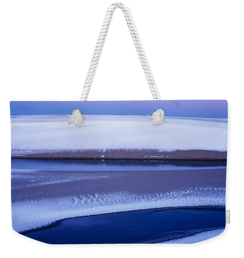 Coast Weekender Tote Bag featuring the photograph Snow On The Dunes by Robert Potts